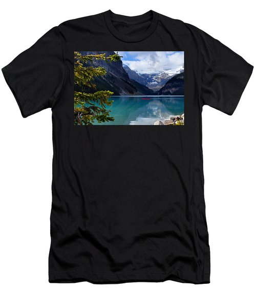 Canoe On Lake Louise Men's T-Shirt (Slim Fit) by Larry Ricker