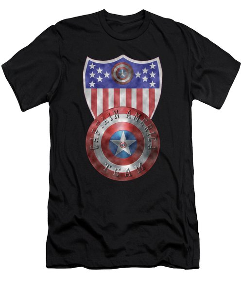 Captain America Shields On Gold  Men's T-Shirt (Athletic Fit)