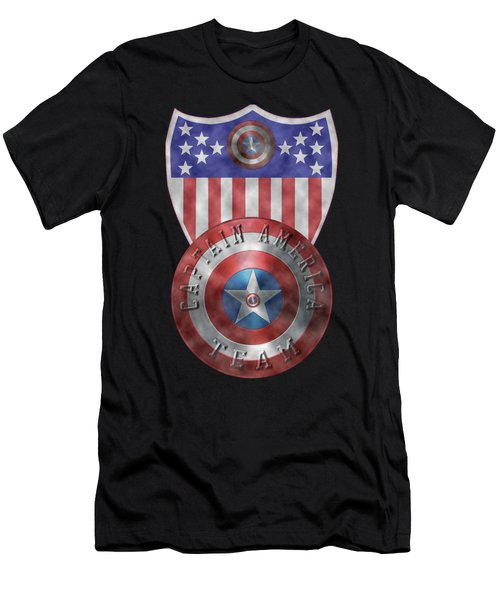 Captain America Shields On Gold  Men's T-Shirt (Athletic Fit)