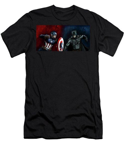 Captain America Vs Batman Men's T-Shirt (Athletic Fit)
