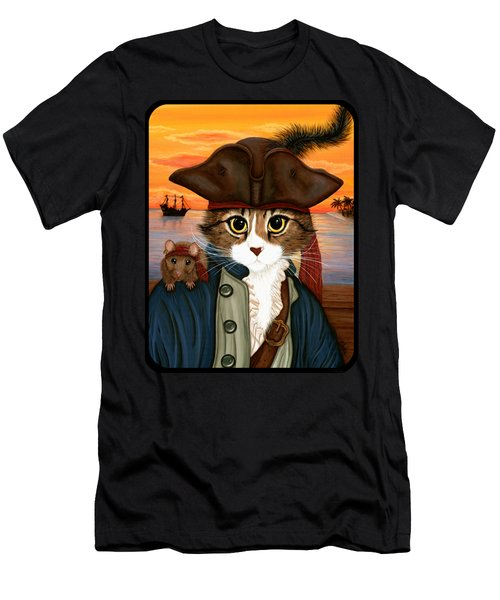 Captain Leo - Pirate Cat And Rat Men's T-Shirt (Athletic Fit)