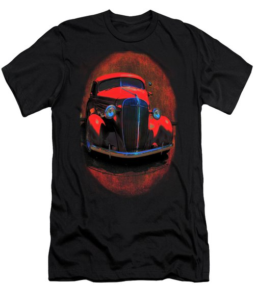Car Art 0443 Red Oval Men's T-Shirt (Athletic Fit)