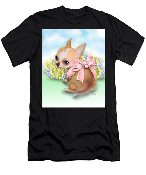 Men's T-Shirt (Athletic Fit) featuring the painting Caramel Chihuahua Baby by Catia Lee
