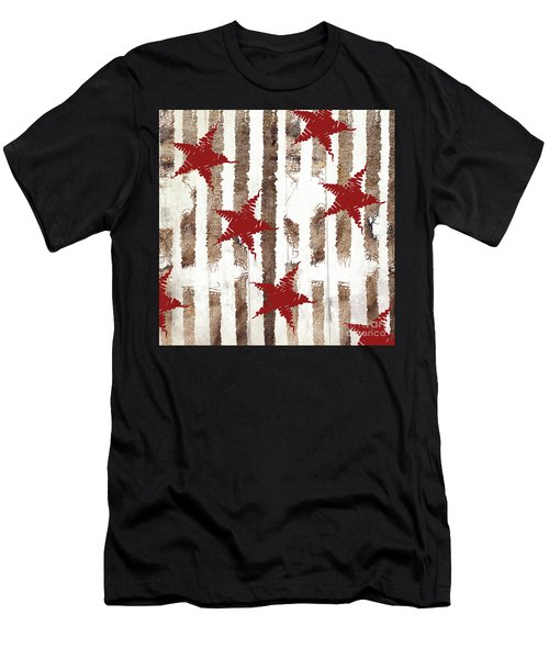 Cardinal Holiday Burlap Star Pattern Men's T-Shirt (Athletic Fit)