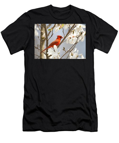 Men's T-Shirt (Athletic Fit) featuring the photograph Cardinal In Magnolia by Angel Cher