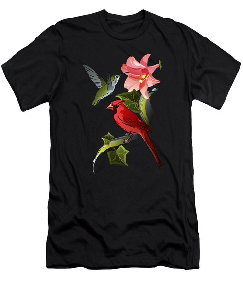 Cardinal On Ivy Branch With Hummingbird And Pink Lily Men's T-Shirt (Athletic Fit)