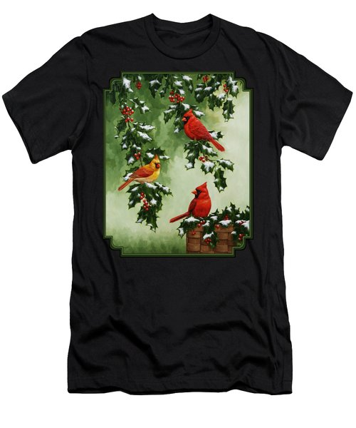 Cardinals And Holly - Version With Snow Men's T-Shirt (Athletic Fit)