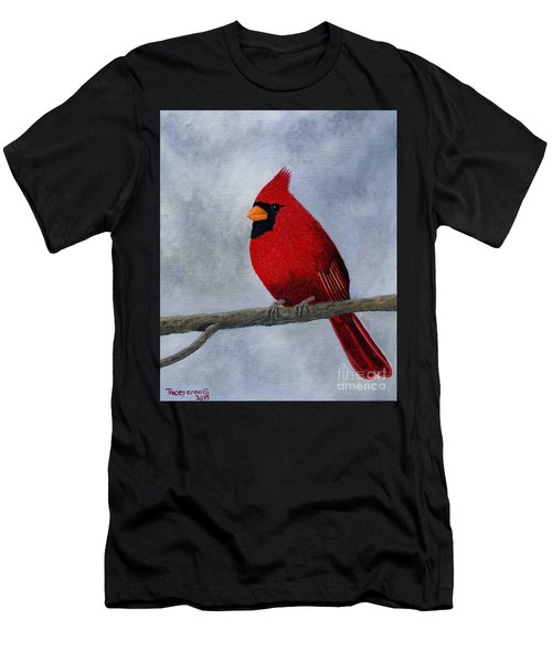 Men's T-Shirt (Athletic Fit) featuring the painting Cardnial by Tracey Goodwin