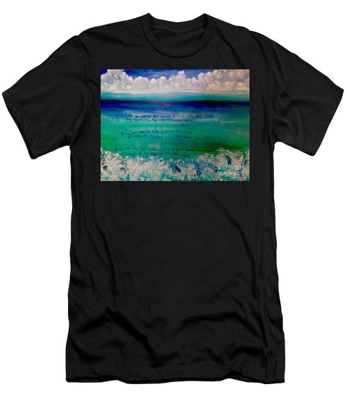 Caribbean Blue Words That Float On The Water  Men's T-Shirt (Athletic Fit)