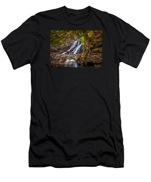 Men's T-Shirt (Athletic Fit) featuring the photograph Caribou Falls In Fall by Rikk Flohr