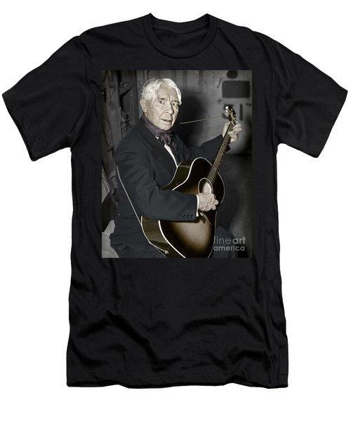 Men's T-Shirt (Slim Fit) featuring the photograph Carl Sandburg With Guitar by Martin Konopacki Restoration