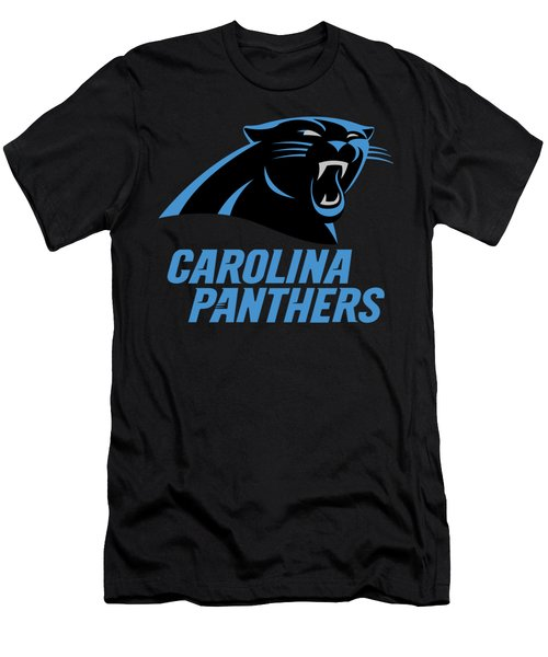 Carolina Panthers On An Abraded Steel Texture Men's T-Shirt (Athletic Fit)