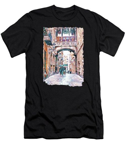 Carrer Del Bisbe - Barcelona Men's T-Shirt (Athletic Fit)