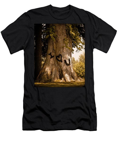 Carve I Love You In That Big White Oak Men's T-Shirt (Slim Fit) by Trish Tritz