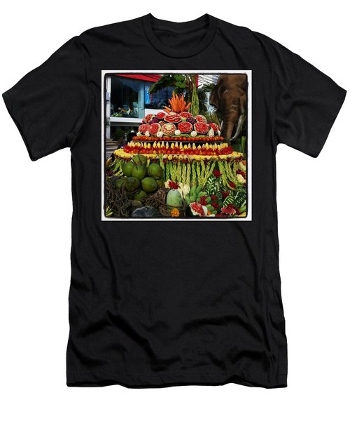 Men's T-Shirt (Athletic Fit) featuring the photograph Carved Watermelon, Surin Elephant by Mr Photojimsf