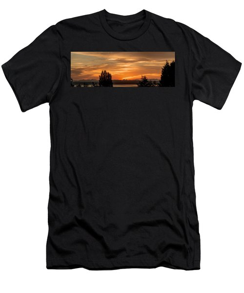 Men's T-Shirt (Slim Fit) featuring the photograph Cascade Mountains - Sunrise Panorama by E Faithe Lester