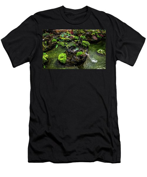 Men's T-Shirt (Athletic Fit) featuring the photograph Cascades Fountains by Onyonet  Photo Studios