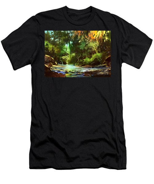 Cascades In Forest Men's T-Shirt (Athletic Fit)
