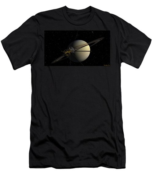 Cassini Orbiting Saturn Men's T-Shirt (Athletic Fit)