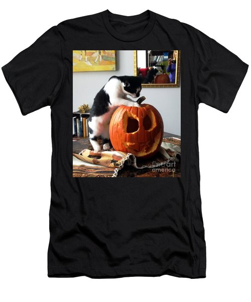 Cat And Pumpkin Men's T-Shirt (Slim Fit) by Vicky Tarcau
