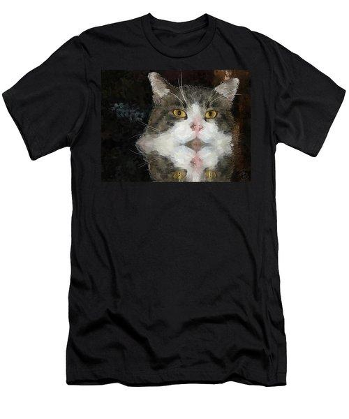 Cat At The Table Men's T-Shirt (Slim Fit) by Debra Baldwin