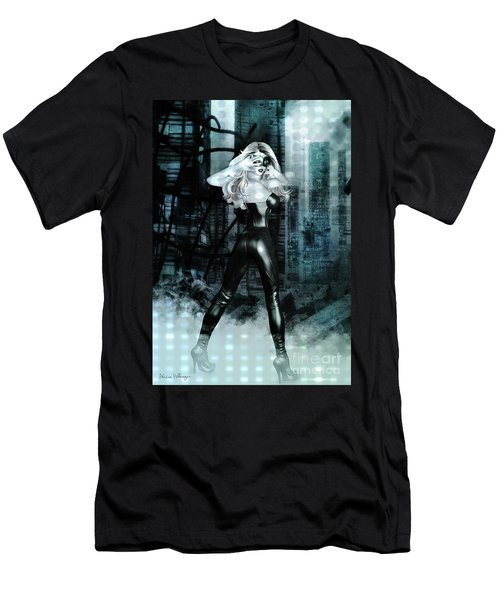 Cat Girl Comic Like Pinup Men's T-Shirt (Athletic Fit)