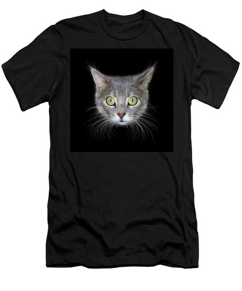 Cat Head On Black Background Men's T-Shirt (Athletic Fit)