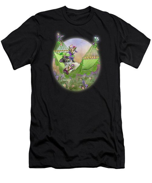 Cat In Calla Lily Hat Men's T-Shirt (Athletic Fit)
