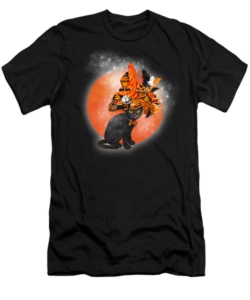 Men's T-Shirt (Slim Fit) featuring the painting Cat In Halloween Cupcake Hat by Carol Cavalaris