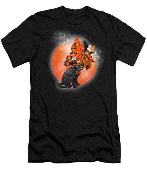 Cat In Halloween Cupcake Hat Men's T-Shirt (Athletic Fit)