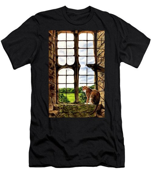 Cat In The Castle Window-close Up Men's T-Shirt (Athletic Fit)