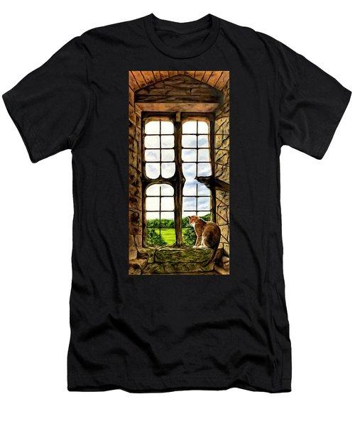 Cat In The Castle Window Men's T-Shirt (Athletic Fit)