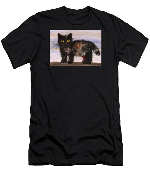 Men's T-Shirt (Slim Fit) featuring the painting CAT by Mikhail Savchenko