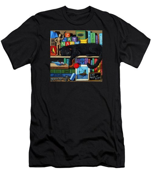 Cat Nap - Orginal Black Cat Painting Men's T-Shirt (Athletic Fit)