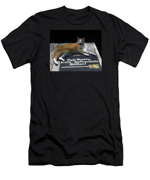 Men's T-Shirt (Slim Fit) featuring the photograph Cat On Dull Women Mat by Sally Weigand