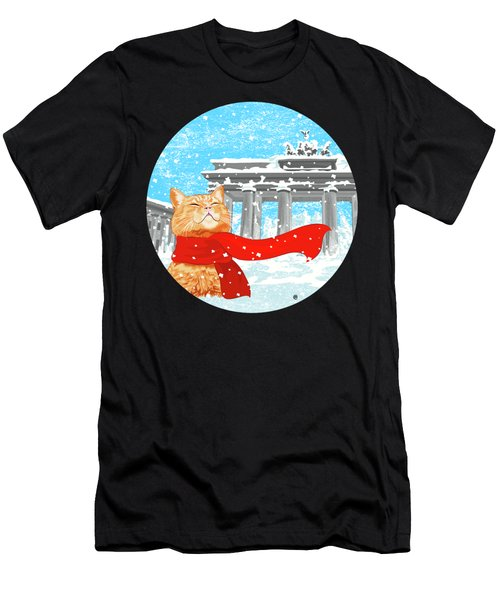 Cat With Scarf Men's T-Shirt (Slim Fit) by Carolina Matthes