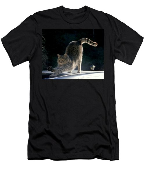 Men's T-Shirt (Slim Fit) featuring the photograph Cat Yoga by Peter Mooyman