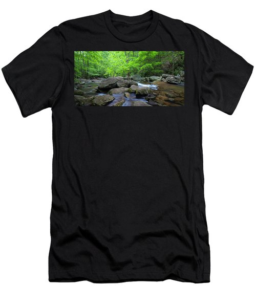Men's T-Shirt (Athletic Fit) featuring the photograph Catawba Stream And Rocks Panorama by Ranjay Mitra