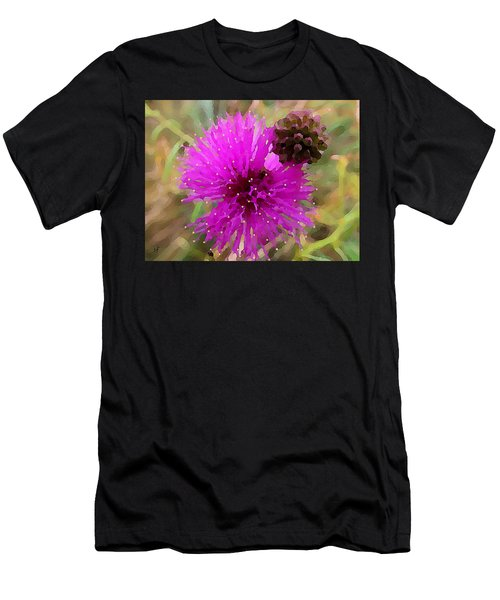 Men's T-Shirt (Athletic Fit) featuring the digital art Catclaw Pink Mimosa  by Shelli Fitzpatrick