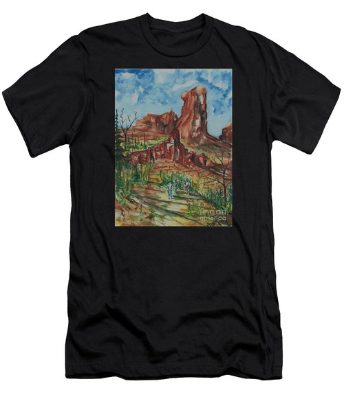 Hiking Cathedral Rock,  Sedona, Az. Men's T-Shirt (Athletic Fit)