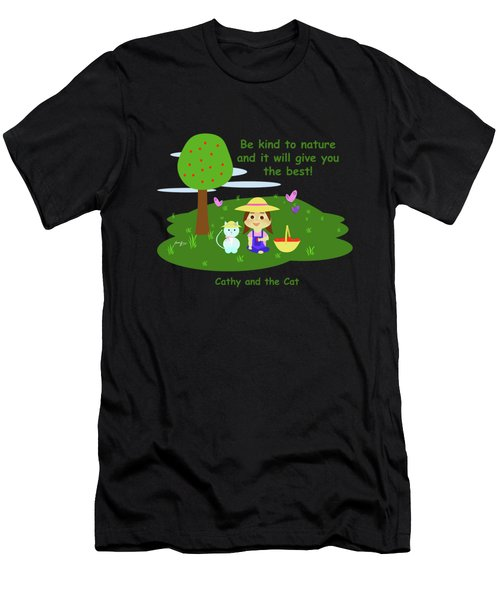 Cathy And The Cat Are Kind To Nature Men's T-Shirt (Athletic Fit)
