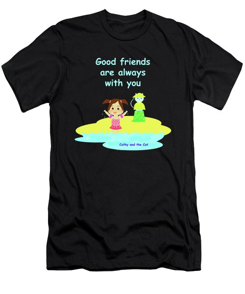 Cathy And The Cat Friends Are With You Men's T-Shirt (Athletic Fit)