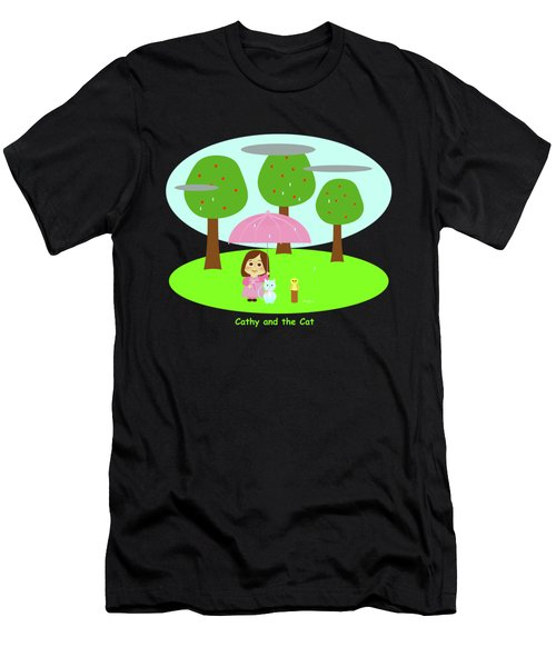 Cathy And The Cat Rainy Day Men's T-Shirt (Athletic Fit)