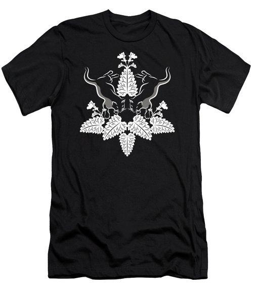 Cats And Catnip White On Black Men's T-Shirt (Athletic Fit)