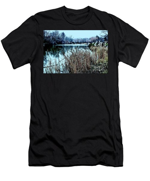 Cattails On The Water Men's T-Shirt (Slim Fit) by Sandy Moulder