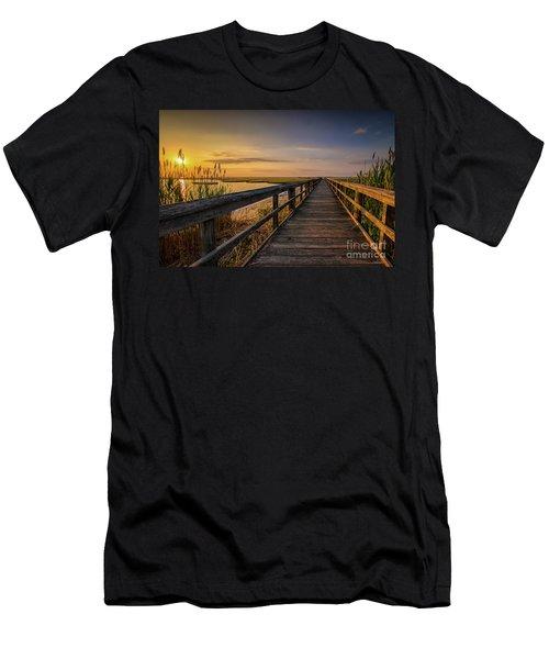 Cedar Beach Pier, Long Island New York Men's T-Shirt (Athletic Fit)