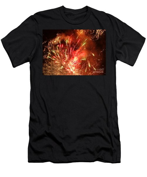 Celebratory Fireworks And Firecrackers Light Up The Sky Men's T-Shirt (Slim Fit)