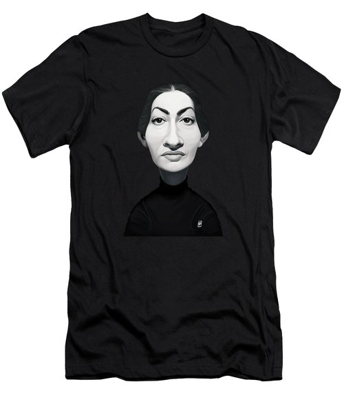 Men's T-Shirt (Athletic Fit) featuring the digital art Celebrity Sunday - Maria Callas by Rob Snow