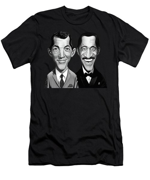 Men's T-Shirt (Athletic Fit) featuring the digital art Celebrity Sunday - Sammy Davis Jnr And Dean Martin by Rob Snow