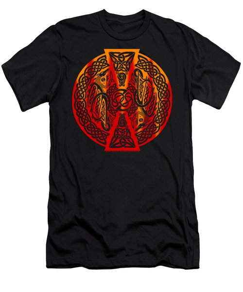 Men's T-Shirt (Slim Fit) featuring the mixed media Celtic Dragons Fire by Kristen Fox